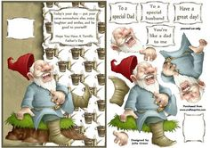 The laughing gnome on father s day on Craftsuprint designed by Julie Green - A great card front to make dad smile on Father's day. Use as is for a quick card or build up the layers to add depth - Now available for download!