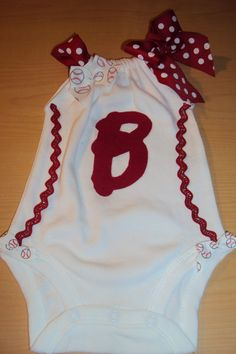 B for baseball Boston Baby Girls Baseball Romper by DaintyBoTeek, $24.00