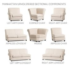 Build Your own - Manhattan Upholstered Sectional Components #potterybarn
