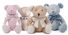 Fabric bears make for a more elegant looking baby hamper.