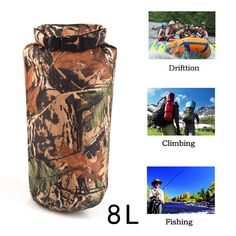 New Portable 8L Camouflage Waterproof Bag Storage Dry Bag For Outdoor Canoe Kayak Rafting Camping Climbing Hike Free Shipping