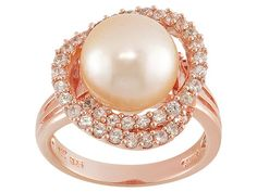 Luscious pink pearl ring! The stone is so beautiful with the rose gold. Just gorgeous. | 10.5mm Pink Cultured Freshwater Pearl With White Zircon 1.12ctw 18k Rose Gold Over Sterling Ring