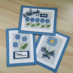 Part 2 of 3 more stitched designs completed. Stay tuned for part - Pretty Wings - Sending & Wishing - Large Pierced Scallops - Blueberry Sky, Enchanted Evening Cross Stitch Beginner, Mini Cross Stitch, Cross Stitch Needles, Cross Stitch Cards, Beaded Cross Stitch, Cross Stitch Flowers, Cross Stitching, Cross Stitch Embroidery, Cross Stitch Designs