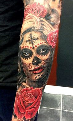 Realistic black and red tattoo of Muerte by Pontus Jonsson | Post 8922 | World Tattoo Gallery - Best place to Tattoo Arts