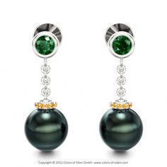 """Pearl Earrings in White Gold with Tsavorite Garnet and Citrine - """"Parallel Worlds"""""""