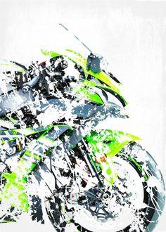 My Superbike series, artwork b. detailed, premium quality, magnet mounted prints on metal designed by talented artists. Kawasaki Ninja H2r, Ninja Wallpaper, Bike Drawing, Bike Poster, Zx 10r, Motorcycle Art, Super Bikes, Bike Life, Cool Bikes