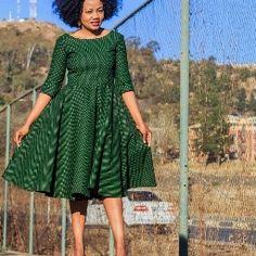 Off Shoulder African Print Seshweshwe Dress