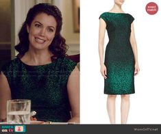 Mellie's green textured dress on Scandal.  Outfit Details: http://wornontv.net/47576/ #Scandal