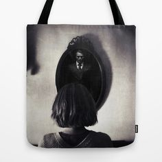 You've Been Very Rude... Tote Bag #hannibal #hanniballecter #lecter #drlecter #television #fanart #movies #character #scary #monster #killer #design #photography #blackandwhite #monochrome #creepy #scary #interpretive #mirror #dark #haunted #haunting #tote #bag #bookbag #carry
