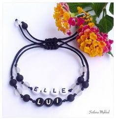 """Lot de 2 Bracelets """" Elle et Lui """". Bracelets de couple, amoureux. : Bracelet par perles-et-couronnes"""