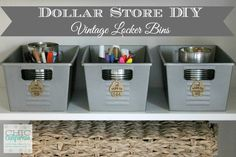 Dollar Store DIY: Vintage Locker Bins - When I gave my office a makeover this past fall I stocked my shelves with lots of Ikea boxes for storage. I realized a f… Dollar Store Hacks, Dollar Store Bins, Dollar Store Crafts, Dollar Stores, Thrift Stores, Diy Kitchen Storage, Diy Storage, Storage Ideas, Clothes Storage
