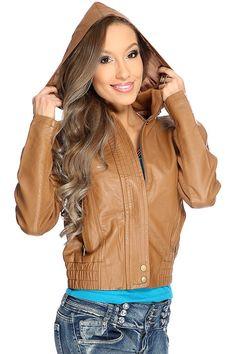 Cognac Faux Leather Hooded Jacket   Ami Clubwear $34.99 M or L