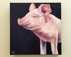 Pig Painting Original Oil Painting by HeatherAnnOrlando on Etsy, $120.00 #art #pig #oil #painting #farm
