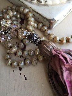 SALE//Shabby BoHo glam hand knotted czech by MarleeLovesRoxy