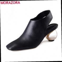49.81$  Buy here - http://ali8vw.worldwells.pw/go.php?t=32339527499 - 2015 brand new full genuine leather shoes fashion slingback women pumps black square toe strange high heels prom wedding shoes