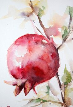 Red Pomegranate Branch Original Watercolor Painting by CanotStop