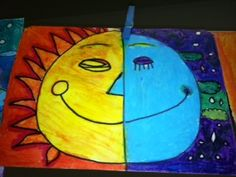 """The Sun and The Moon"" art project, perfect for learning COLOR (one of the Seven Basic Elements of Art), focusing on warm and cool colors of the color wheel. First Grade Art, 3rd Grade Art, Kids Art Class, Art For Kids, Warm And Cool Colors, Ecole Art, Kindergarten Art, Art Lessons Elementary, Elements Of Art"
