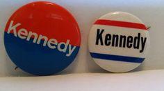 2 R. F. K. Robert (Bobby) Kennedy 1960's Political Pinback Button Pin