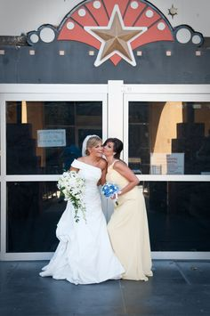 "Infront of the old ""Movieland Wax museum""- Maid of Honor! Sisters!"