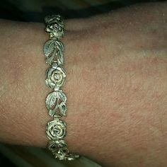 "Beautiful Silver Roses Bracelet 925 Stamped Silver Rose bracelet.  7"" nice for Spring any occasion.  Perfect condition ? Jewelry Bracelets"