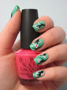 This would be a great January or February mani . . . before actual cherry blossoms come out, but close enough to Spring that all you can think about is flowers.