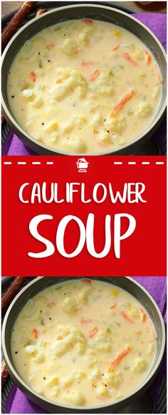 Ingredients 1 medium head cauliflower, broken into florets 1 medium carrot, shredded cup chopped celery cups water 2 teaspoons chicken or 1 vegetable bouillon cube 3 tablespoons butter 3 tablespoons all-purpose flour Skinny Recipes, Ww Recipes, Crockpot Recipes, Cooking Recipes, Healthy Recipes, Family Recipes, Best Soup Recipes, Healthy Soup Recipes, Gourmet