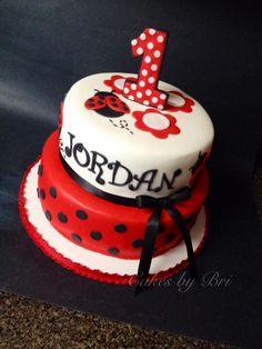 Lady bug themed birthday cake