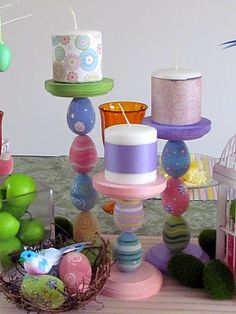 Easter egg candle holders (those are plastic eggs, not the real thing! Ostern Party, Diy Ostern, Spring Crafts, Holiday Crafts, Holiday Fun, Party Crafts, Garden Crafts For Kids, Kids Crafts, Family Crafts