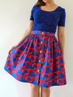 Tilly & The Buttons - Lobster Skirt for Sew Dolly Clackett! A skirt to match my dad's shirt!!