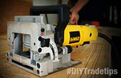 In this guide we show you the benefits of owning and using a biscuit jointer Woodworking Industry, Woodworking Tools, Biscuit Joiner, Dewalt Power Tools, All Tools, Diy Workshop, Garage Tools, Carpentry, Hardware