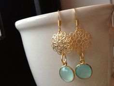 Gold Filigree Mint Blue Chalcedony Drop by EliseJewelry1980