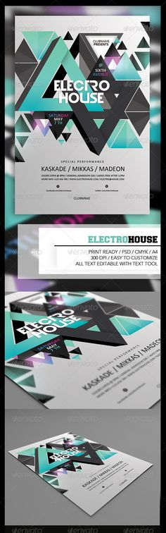 """Electro House Flyer  #GraphicRiver        Electro House Flyer   PSD File  Print Ready  300 dpi  CMYK  4×6"""" + 0.25"""" bleed  Easy to use"""