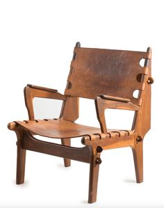 Angel Pazmino; Rosewood and Leather Chair for Meubles de Estilo, c1970.