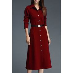 Stylish Shirt Collar Long Sleeve A-Line Dress For Women