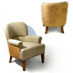 Beige Linen Armchair with Printed Map Accents