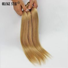 27# Light Brown Blonde Brazilian Human Hair Extensions Virgin Hair Bundles 300g #Orangestar #StraightBundle