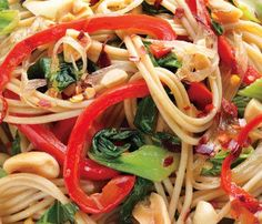 Vegetarian Dinners Under 450 Calories: Hot-and-Sour Peanutty Noodles With Bok Choy.