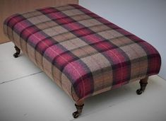 Tartan Chair, Tartan Fabric, Upholstered Footstool, Ottoman Bench, Large Footstools, Ottomans, Footstool Coffee Table, Cottage Interiors, Tweed