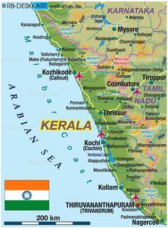 Map of Kerala (Region in India) India World Map, India Map, Kerala India, General Knowledge Book, Gernal Knowledge, Knowledge Quotes, Geography Map, Physical Geography, Kerala Travel