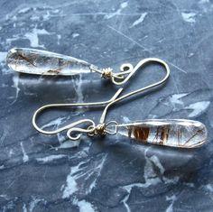 Rutilated Quartz Briolette Earrings Bronze Rutile by gbjewel