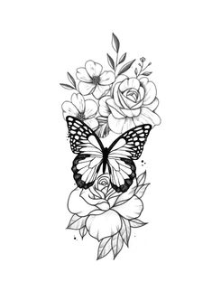 Butterfly Thigh Tattoo, Butterfly With Flowers Tattoo, Butterfly Tattoos For Women, Forarm Tattoos, Body Art Tattoos, Hand Tattoos, Small Tattoos, Upper Leg Tattoos, Medium Size Tattoos