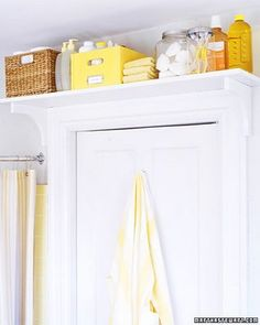 Space-saving ideas and smart storage solutions can make small bathroom design feel airy, bright, stylish and very comfortable Door Shelves, Door Storage, Storage Room, Closet Storage, Shelf Over Door, Storage Shelving, Shelving Units, Towel Storage, Laundry Storage