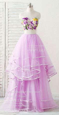 Purple two pieces applique tulle long prom dress purple evening dress