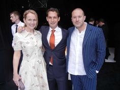 Tipping Point benefit co-chair Heather Ive and her husband, Apple designer Sir Jony Ive, flank TP founder Daniel Lurie. Photo: Catherine Bigelow, Special To The Chronicle Cloths, Benefit, Husband, Apple, Chair, Tips, Image, Design, Drop Cloths