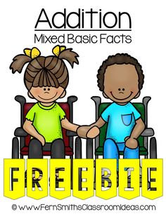 Fern Smith's Classroom Ideas #FREE Mixed Addition Basic Facts Center Game at TeachersPayTeachers. #ClassroomFreebies