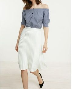 High Waisted Satin Pleated Midi Skirt White Women s X Small 89aabff09