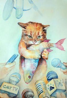 """Watercolor painting / Купить """"Тот самый кот!"""" картина акварелью - рыжий, кот, микрофон, рыба, кот-воришка"""