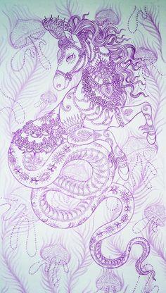 Horse Serpent Goddess for Eucalyptus by Saira Hunjan... Love her designs.