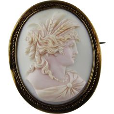 Extra Large 14k Gold Pink Conch Shell Cameo of Goddess Demeter from vivienstreasurewonderland on Ruby Lane