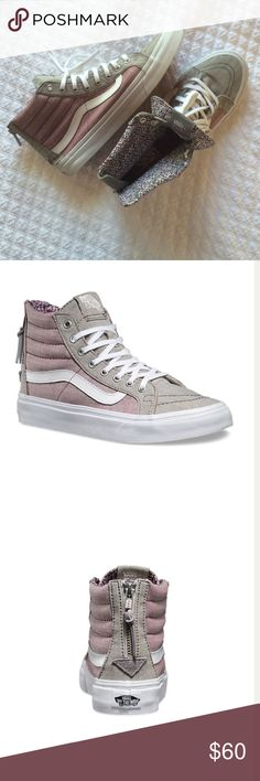 Vans Hightop Sneaker Women's Floral Chambray Sk8- Hi Slim Zip. Worn twice, just not my style (more of a converse girl!) excellent condition Vans Shoes Sneakers
